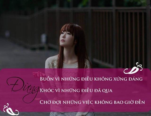 Stt vỗ về trái tim Đừng khóc nữa cô gái vì người đó không xứng đâu